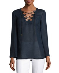 Michael Kors Grommet Lace Up Linen Tunic Navy