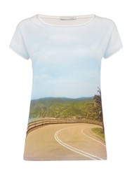 Oui Ocean Road Printed T Shirt Navy And White
