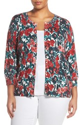 Sejour Plus Size Women's Print Cotton Blend Three Quarter Sleeve Cardigan Ivory Green Print