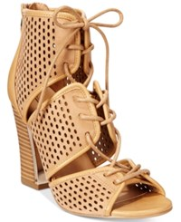 Call It Spring Ciracia Lace Up Block Heel Sandals Women's Shoes Camel