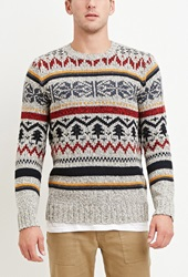 Forever 21 Striped Fair Isle Sweater Oatmeal Red