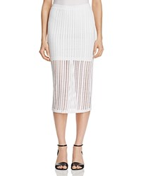 T By Alexander Wang Perforated Stretch Jersey Pencil Skirt White