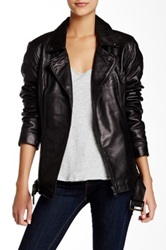 Steve Madden Belted Geuine Leather Moto Jacket Black