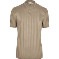 River Island Mens Beige Ribbed Muscle Fit Polo Shirt