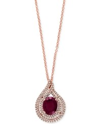 Effy Collection Effy Rhodolite Garnet 3 Ct. T.W. And Diamond 1 2 Ct. T.W. Pendant Necklace In 14K Rose Gold