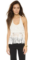 House Of Harlow Halter Fringe Top Egret