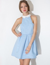 Pixie Market Powder Blue Collar Flared Dress