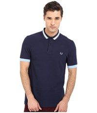 Fred Perry Bomber Stripe Collar Shirt Carbon Blue Men's Clothing Navy