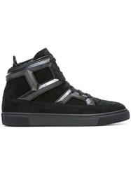 Louis Leeman Panelled Hi Top Sneakers Black