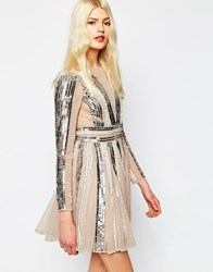 Asos Sequin Stripe Fit And Flare Mini Skater Dress Nudesilver