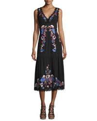 Nanette Lepore Sleeveleess Embroidered Chiffon Midi Dress Black Multicolor Black Multi