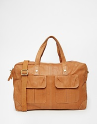 Asos Satchel In Distressed Leather In Tan