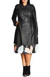 City Chic Plus Size Women's 'Vinyl Weave' Braid Detail Faux Leather Trench Coat