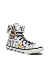 Moschino Mighty Mouse Calfskin High Tops In Green Abstract Animal Print