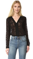 Rebecca Taylor Long Sleeve Embroidered Top Black
