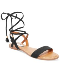 Inc International Concepts Ganice Two Piece Lace Up Flat Sandals Only At Macy's Women's Shoes Black