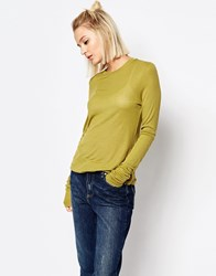 Weekday Sheer Ribbed Top Khaki Green