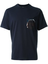 Paul Smith Ps By Rose Pocket Print T Shirt Blue