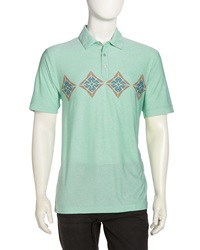 Penguin Diamond Print Golf Polo Shirt Dustyjade Green Heather