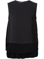 Yigal Azrouel Pleated Back Top Black