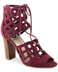 G By Guess Iniko Caged Lace Up Sandals Women's Shoes Dark Purple