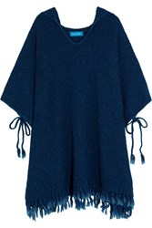 Mih Jeans M.I.H Malaquite Cotton Blend Hooded Poncho Storm Blue