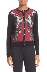 Ted Baker Women's London 'Bejewelled Shadows' Print Woven Front Cardigan