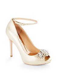 Badgley Mischka Dallas Ankle Strap Peep Toe Stiletto Pumps Gold