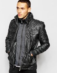 Barney's Barneys Faux Leather Double Layer Jacket Grey