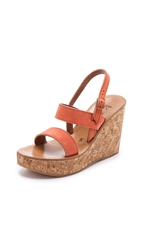 K. Jacques Borneo Suede Wedges Velours Melocotton