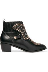 Sophia Webster Karina Butterfly Studded Leather Ankle Boots Black