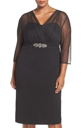 Alex Evenings Plus Size Women's Embellished Illusion Overlay Sheath Dress