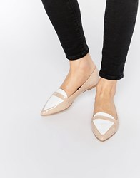 Asos Leigh Pointed Ballet Flats Nude Beige