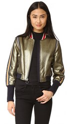 Bcbgmaxazria Metallic Baseball Bomber Jacket Gold