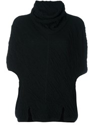 Lost And Found Ria Dunn High Neck Crinkled Top Black
