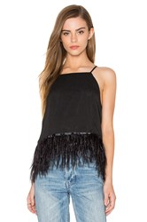 Endless Rose Feather Detail Tank Black