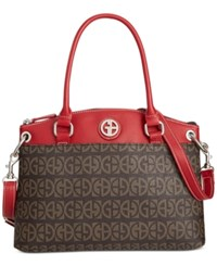 Giani Bernini Block Signature Pop Small Round Satchel Only At Macy's Brown Red
