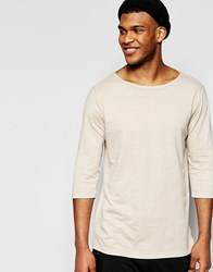 Asos Slub Jersey Relaxed Longline 3 4 Sleeve T Shirt With Boat Neck In Beige Beige