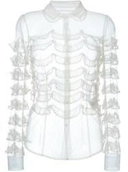 Red Valentino Frill Trim Sheer Shirt Nude And Neutrals