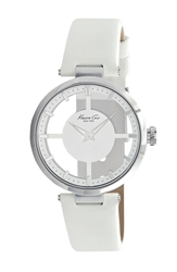 Kenneth Cole Transparent Dial Leather Strap Watch 36Mm White Silver