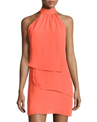 Laundry By Shelli Segal Tiered Sleeveless Halter Dress Pop Orange