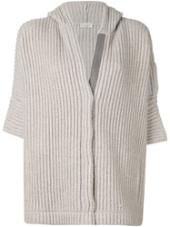Brunello Cucinelli Hooded Ribbed Cardigan Nude And Neutrals