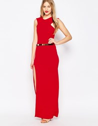 Honor Gold High Neck Belted Maxi Dress With Side Split Red