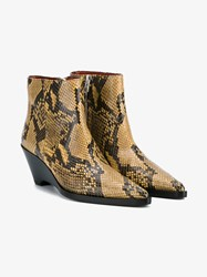 Acne Studios Cony Snake Skin Ankle Boots Brown Black Denim