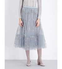 Valentino Sequin Embellished Tulle Midi Skirt Blue