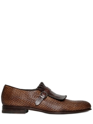 Harris Handmade Woven Fringed Leather Loafer Brown Multi