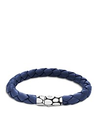 John Hardy Men's Kali Silver Blue Woven Leather Bracelet