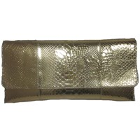 Carlos Falchi Floral Applique Oversized Clutch Gold
