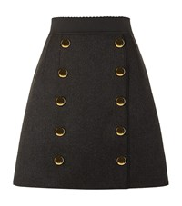 Dolce And Gabbana Military Button Skirt Female Black