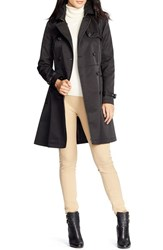 Women's Lauren Ralph Lauren Faux Leather Trim Trench Coat Black